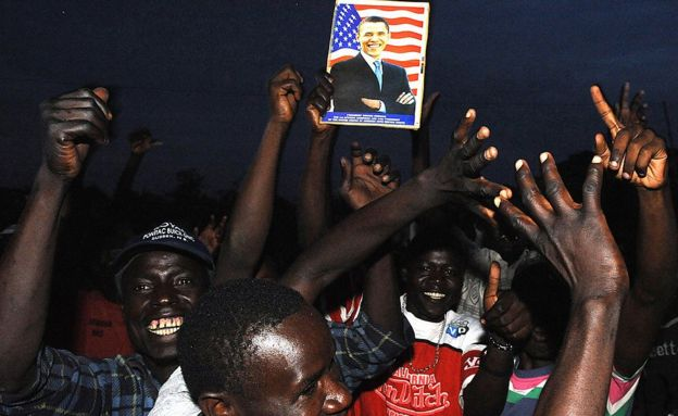 Crowd cheer Obama's 2008 victory