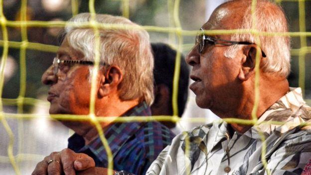 Indian football legends Chuni Goswami and P K Banerjee