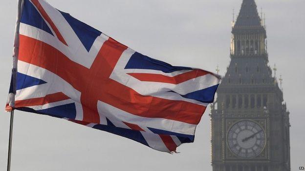 Bandera británica frente al Big Ben