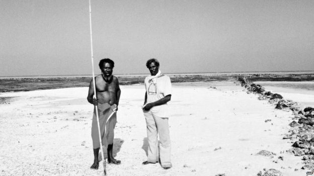 Eddie Mabo (left) and Jack Wailu at home on the island of Mer in the Torres Strait Islands in 1990