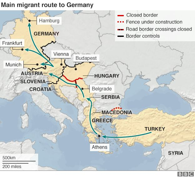 Map showing routes being used by migrants trying to reach Austria and Germany - 19 October 2015