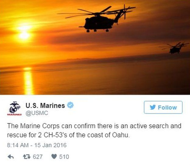 USMC confirmed the crash