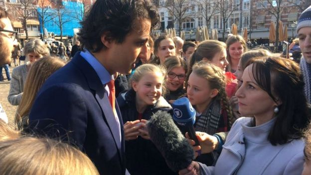 Jesse Klaver, leader of Green-Left Party, being interviewed