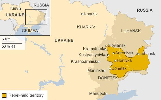 Карта, що показує повстанцями район у червні