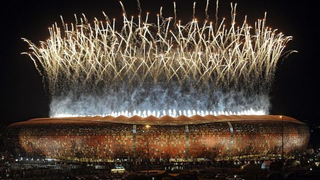 Fireworks at opening ceremony of World Cup 2010