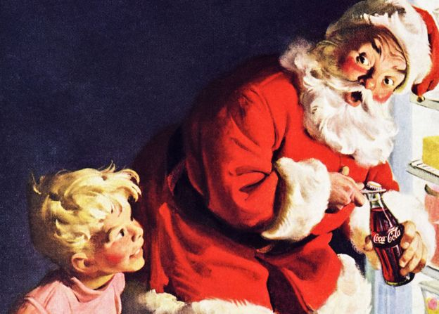 Classic Coca Cola advert in American magazine featuring colour illustration of Santa Father Christmas dated December 1959