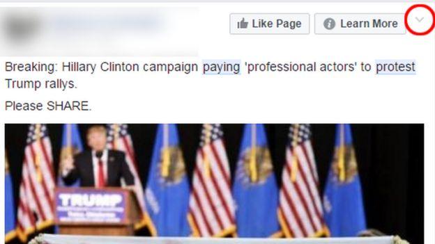 Facebook post sharing a fake news story