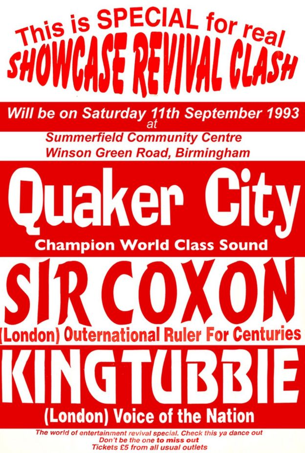 Poster for the Showcase Revival Clash at Summerfield Community Centre, Birmingham