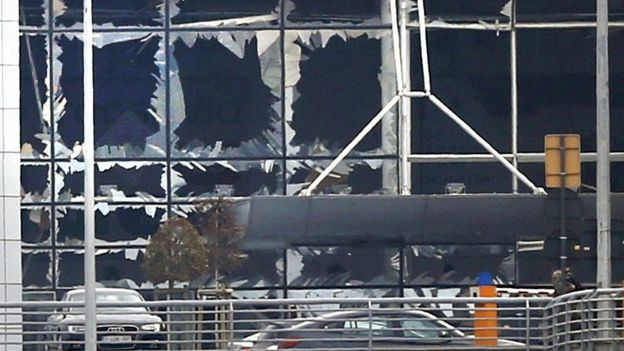Windows blown out at Brussels airport