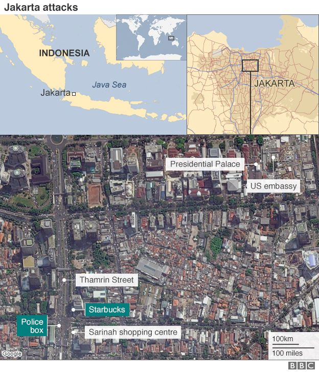 A map showing the location of attack sites in the Indonesian capital Jakarta