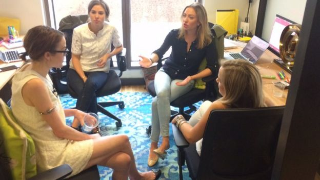 Whitney Wolfe with female colleagues in Bumble's offices