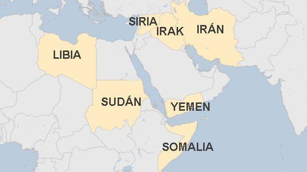 Los 7 países musulmanes vetados por Trump.