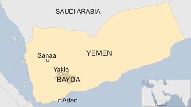 Map of Yemen, showing Bayda