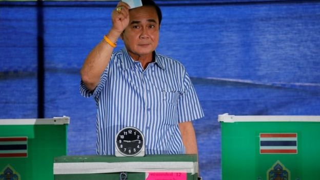 Prime Minister Prayuth Chan-ocha casts his ballot at a polling station in Bangkok