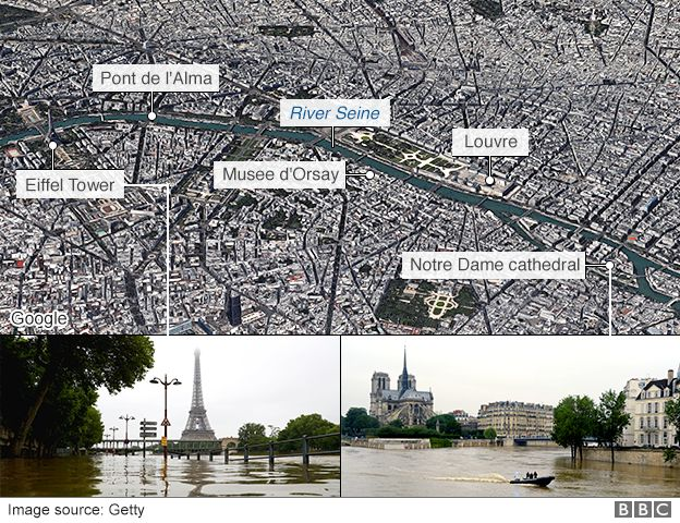 A map showing key locations in Paris