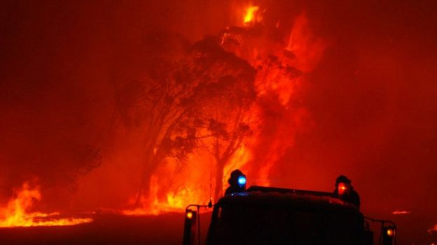 Fire crews battle a blaze in Victoria on 7 February, 2009