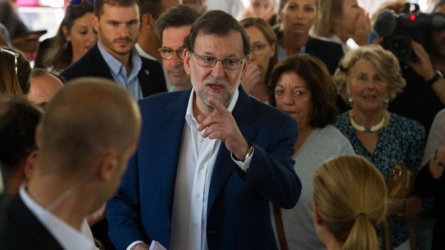 Spanish Prime Minister Mariano Rajoy votes in Madrid