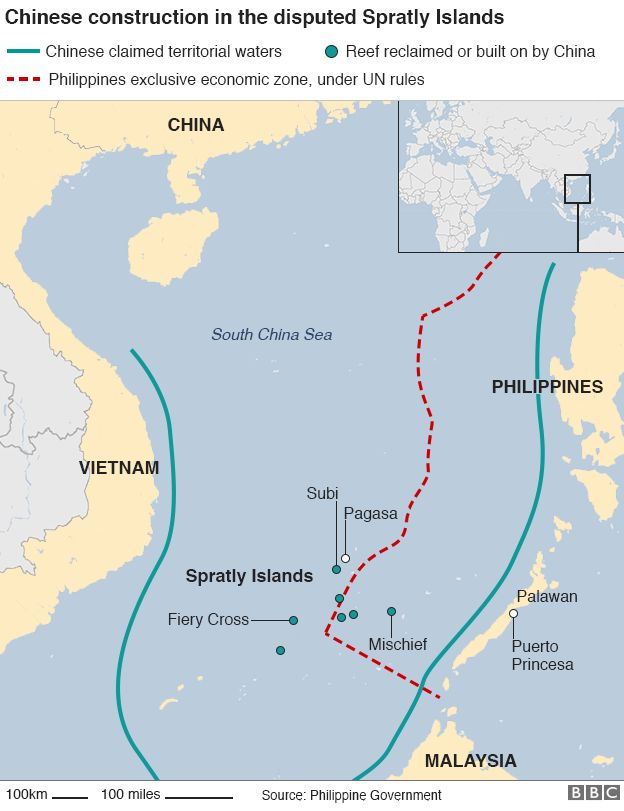 South China Sea US Warship Sails Near Disputed Reef USChina - Map of us and china