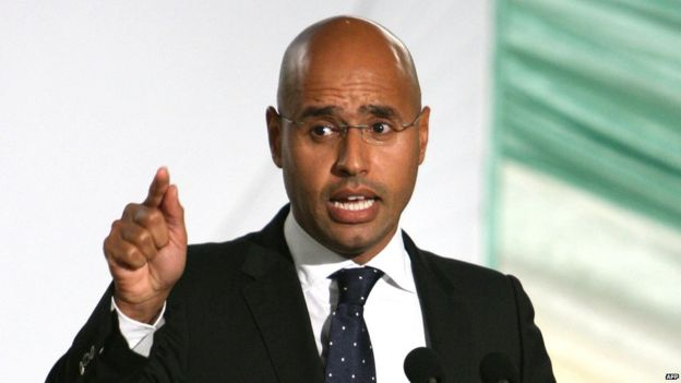 Saif al-Islam Gaddafi , son of Libyan leader Moamer Kadhafi, speaks during a meeting with differing social organizations in the capital Tripoli 24 July 2008