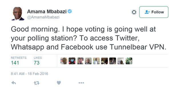 Amama Mbabazi tweet