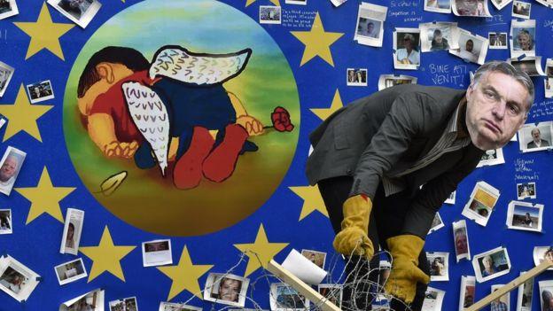 Protesta contra el tratamiento de los migrantes por parte de la unión Europea.