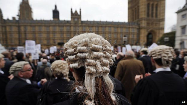 Barristers protesting against cuts to the legal aid budget