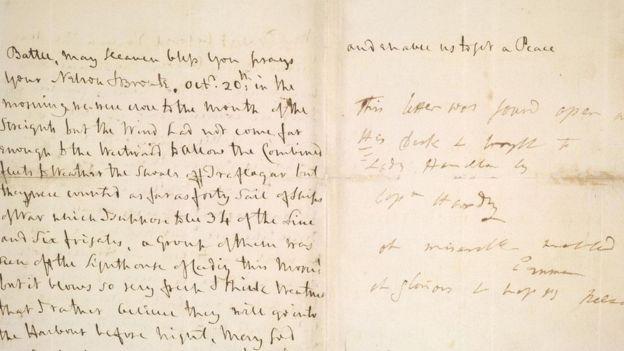 Última carta de Horacio Nelson a Lady Hamilton