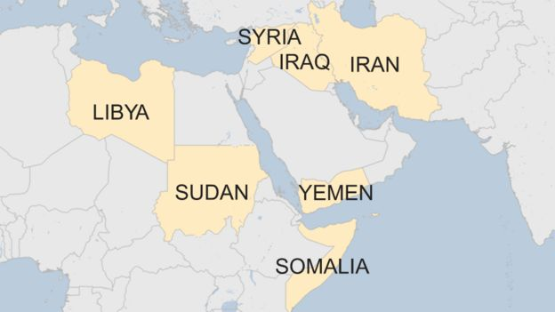 Map with countries with a US travel ban: Iraq, Syria, Iran, Libya, Somalia, Sudan, and Yemen