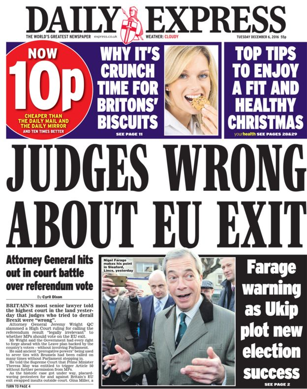 Daily Express front page - 06/12/16