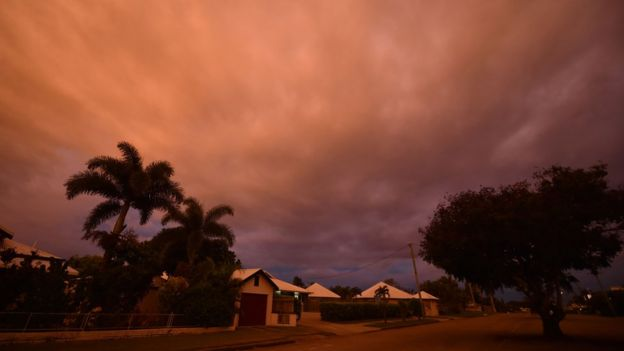 Storm clouds gather in the town of Ayr in north Queensland as Cyclone Debbie approaches, 27 March 2017