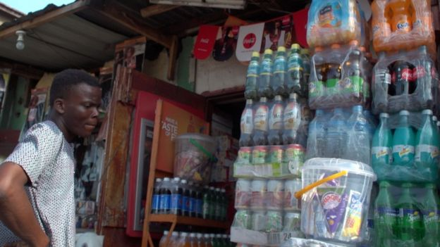 Soft drinks in Nigerian store