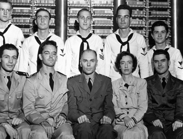 Grace Hopper with the rest of the Harvard Mark 1 computer team in 1944