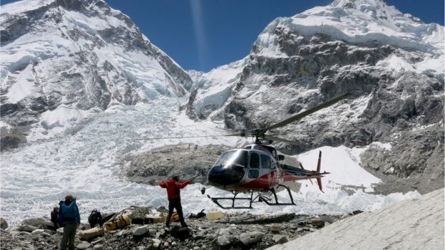 Rescue helicopter at Everest base camp. 24 May 2016