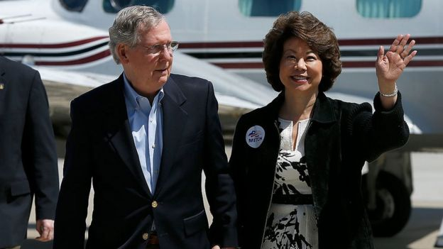 Senate Republican Leader Sen. Mitch McConnell (L) arrives for a campaign rally with his wife Elaine Chao (R) in Louisville, Kentucky in 2014.