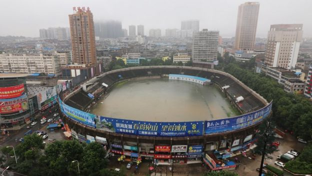 A stadium is flooded after heavy rainfall in Ezhou, Hubei Province