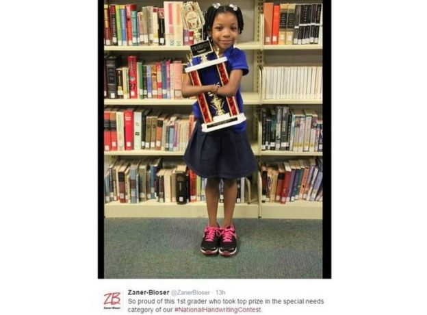 Tweet by Zaner Bloser, sponsors of the US National Handwriting Contest, shows a picture of student Anaya Ellick holding trophy