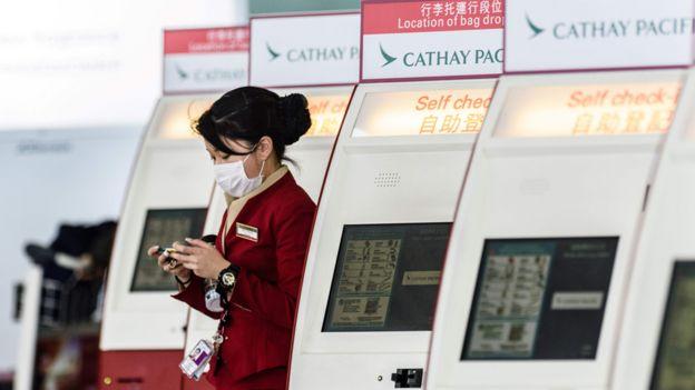 香港機場國泰值機區的自助值機機器(15/3/2017)