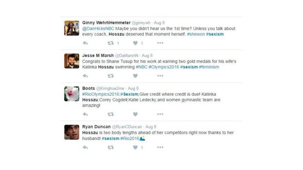 Tuítes denunciando sexismo contra conquista de Hosszu