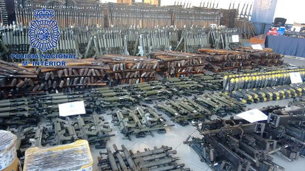 The stockpile of guns seized by Spain's Policia Nacional in Operation Portu