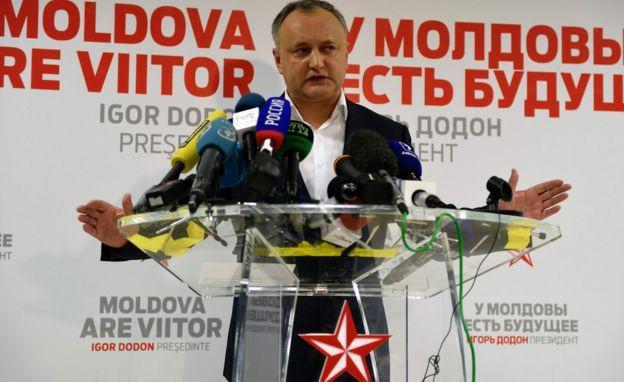 Igor Dodon em coletiva de imprensa.