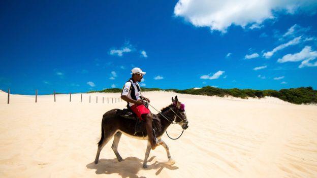 Homem em jumento na praia de Genipabu, no Rio Grande do Norte