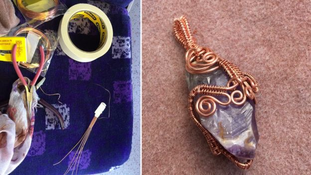 Lindsey Farquhar makes jewellery during her commute