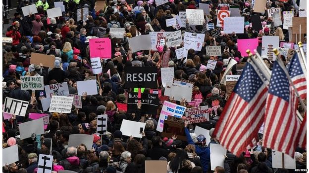 People participating in a Women's March in New York City