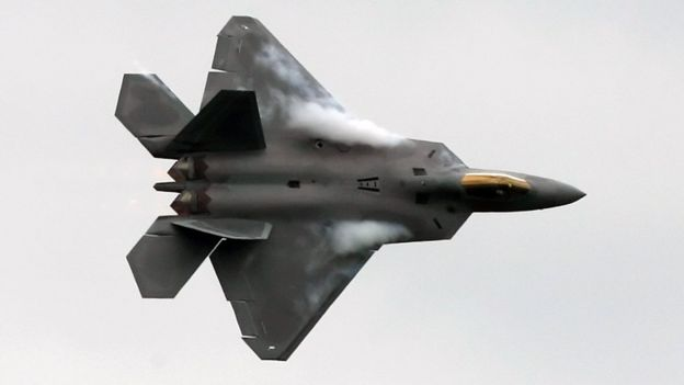 A US F-22 Raptor fighter flies during an aerial display at Farnborough air show