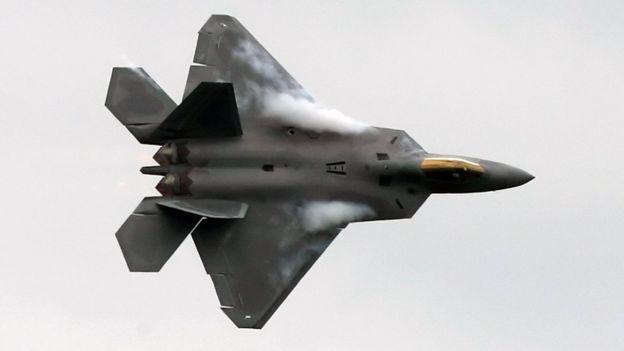A US F-22 Raptor fighter flies during an aerial display at Farnborough air show