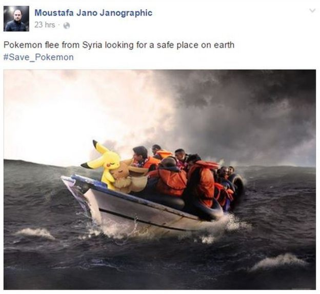 Pokemon in a small boat at sea with refugees