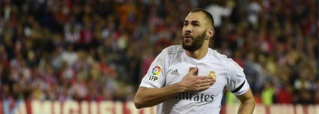 Karim Benzema celebrating a goal