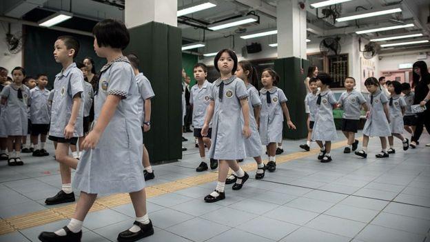资料图片:香港小学生