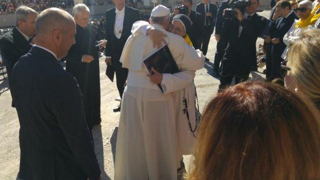 Sor Lucía con el Papa Francisco