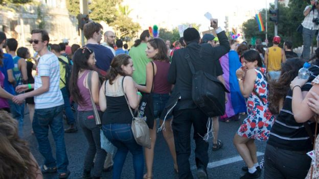 An ultra-Orthodox Jew attacks people with a knife during a Gay Pride parade Thursday, July 30, 2015